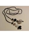 Naszyjnik z pereł - srebrny łososiowy
