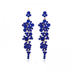 długie wiszące kolczyki z kryształkami w kolorze granatowym Długie wiszące kolczyki kryształki