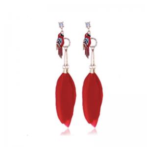 kolczyki z czerwonymi piórami z ptaszkiem i kryształkami