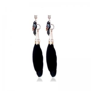 kolczyki z piórami czarne z cyrkonią i miniaturka ptaszka