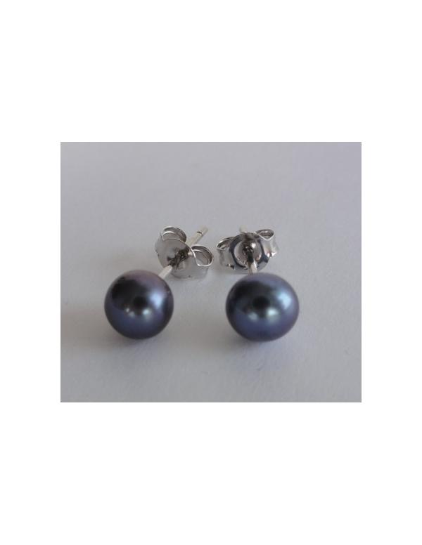 """Kolczyki """"pearl drop"""" z perłą Srebrne kolczyki z perłą granatową """"pearl drop"""""""
