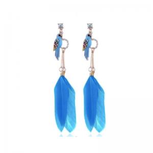 kolczyki z niebieskimi piórami, ozdobnym ptaszkiem i kryształkami