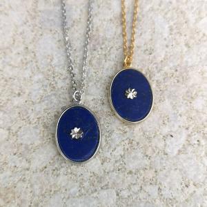 srebrne naszyjniki z lapis lazuli i rozetką Srebrny naszyjnik z lapis lazuli