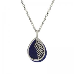 srebrny naszyjnik listek z kamieniem lapis lazuli