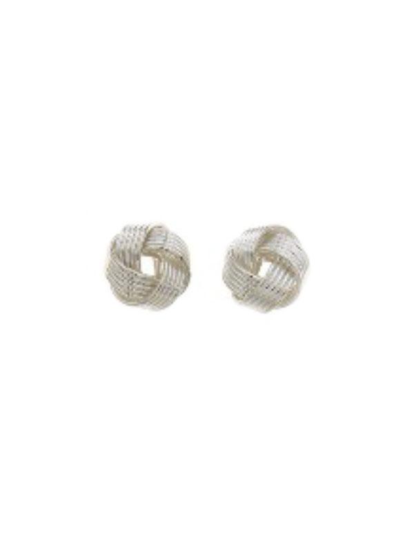 srebrne kolczyki w kształcie węzła na białym tle Srebrne kolczyki węzeł średni