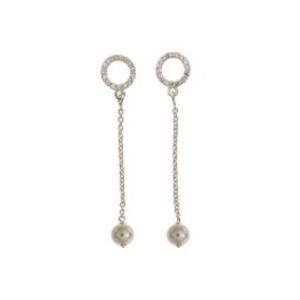 srebrne kolczyki z perełką i cyrkoniami wiszące Srebrne kolczyki z perełką i cyrkoniami wiszące