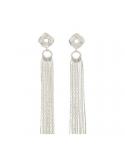 srebrne kolczyki węzeł z łańcuszkami Srebrne kolczyki węzeł z łańcuszkami wiszące