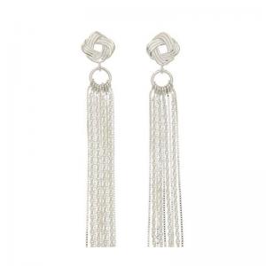 srebrne kolczyki węzeł z łańcuszkami