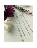srebrne kolczyki długie podwójne kuleczki na łańcuszki Srebrne kolczyki łańcuszek z kuleczkami długie podwójne