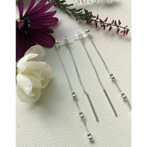 srebrne kolczyki długie podwójne kuleczki na łańcuszki