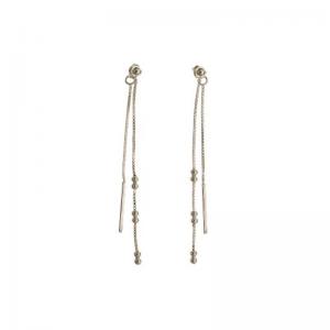 srebrne kolczyki długie podwójne łańcuszki z kuleczkami Srebrne kolczyki łańcuszek z kuleczkami długie podwójne