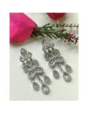 srebrne kolczyki z cyrkoniami z motywem roślinnym długie Srebrne kolczyki z cyrkoniami długie