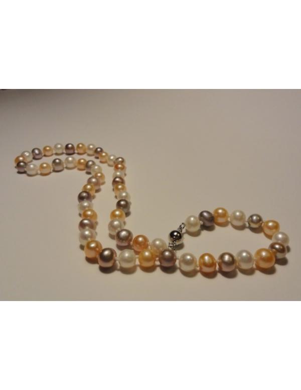 Naszyjnik z pereł - krem karmelowy