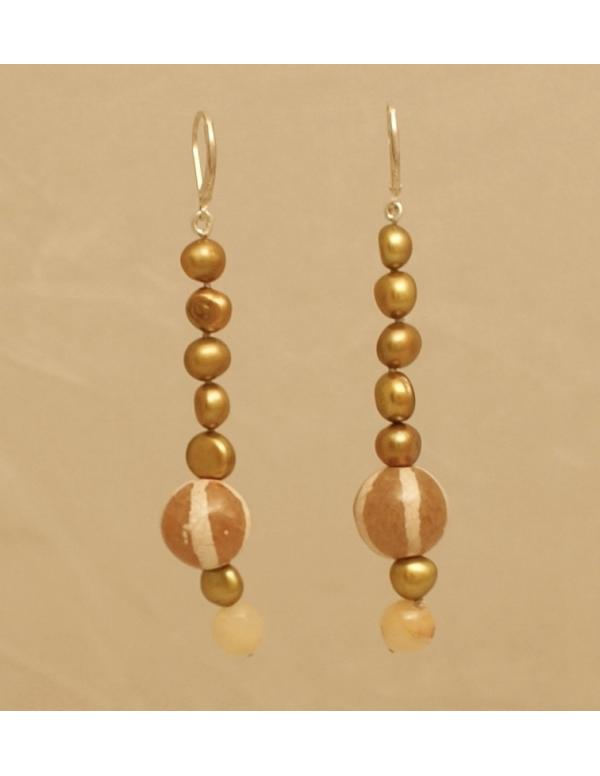 Naszyjnik z pereł - złote kiwi