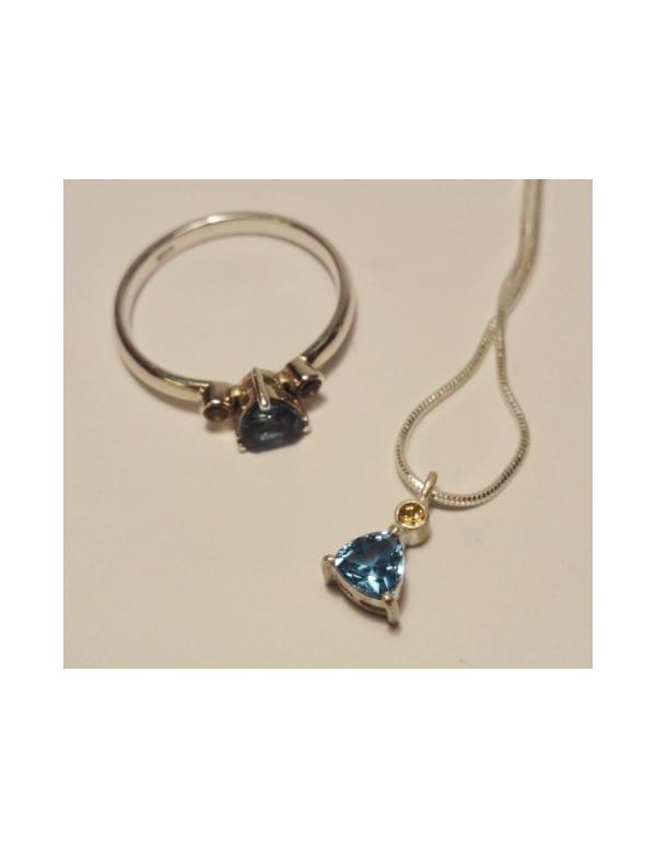 Srebrny komplet z błękitnym topazem Srebrny komplet z błękitnym topazem