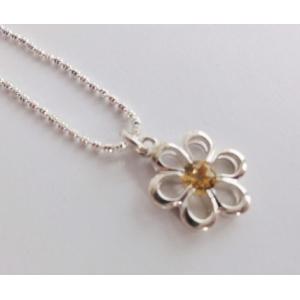 """Wisiorek """"kwiatek"""" z cytrynem na łańcuszku"""