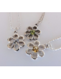 """Wisiorek """"kwiatek"""" z cytrynem na łańcuszku Srebrny naszyjnik z cytrynem """"kwiatek"""""""