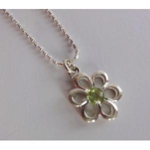 """Wisiorek """"kwiatek"""" z oliwinem na łańcuszku"""