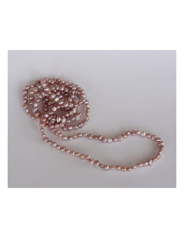 Naszyjnik z pereł - srebrny róż Naszyjnik z pereł - naturalny srebrny róż