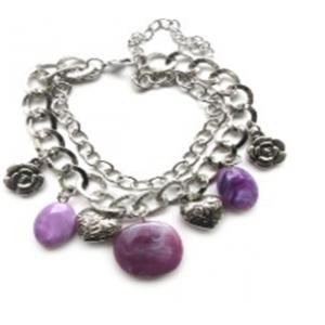 Bransoletka w kolorze srebra i fioletu