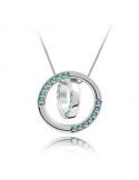 Naszyjnik obrączki z niebieskim kryształem Naszyjnik obrączki z niebieskim kryształem