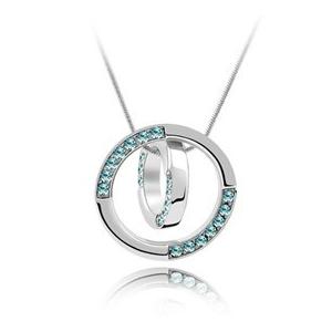 Naszyjnik obrączki z niebieskim kryształem