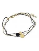 Bransoletka z łańcuszków złoto - czarna Bransoletka z łańcuszków złoto - czarna