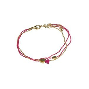 Bransoletka z łańcuszków złoto - różowa z serduszkami