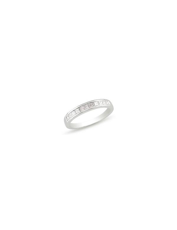 Srebrny pierścionek - obrączka  z białymi kamieniami Srebrna obrączka  z białymi cyrkoniami