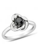 Srebrny pierścionek z kwiatem z cyrkonią Srebrny pierścionek kwiat z czarną cyrkonią