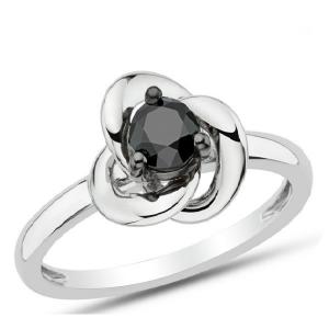 Srebrny pierścionek z kwiatem z cyrkonią
