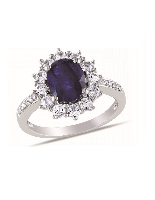 Pierścionek z niebieskim oczkiem owalnym Sebrny pierścionek z niebieskim oczkiem owalnym cyrkonia - markiza