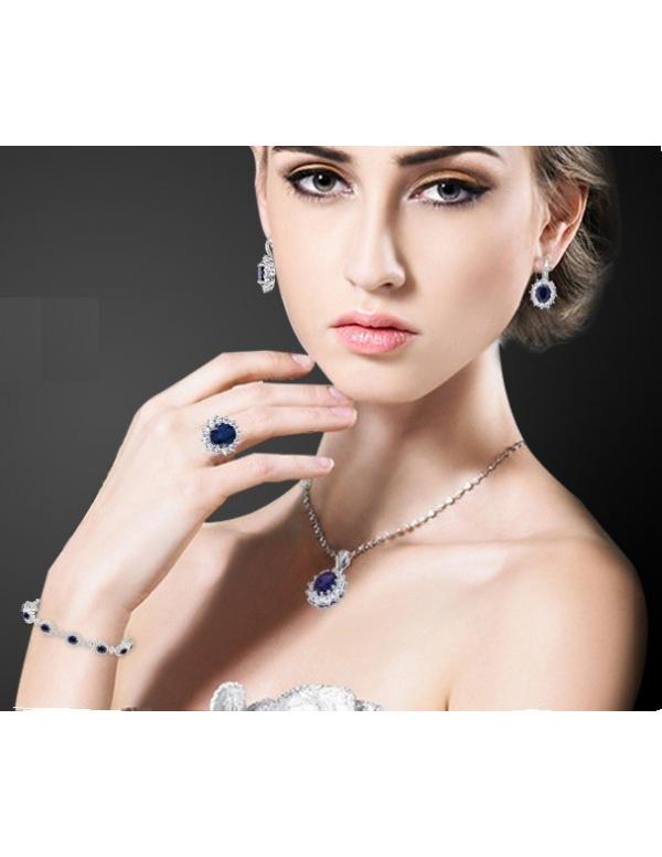 Kolczyki z niebieskim oczkiem owalnym Srebrne kolczyki markizy z szafirową cyrkonią