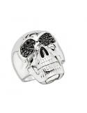 Srebrny pierścionek z czaszką Srebrny pierścionek sygnet z czaszką