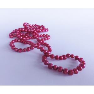 Naszyjnik z pereł - malinowy
