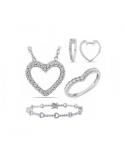 Srebrna bransoletka serca z białymi cyrkoniami