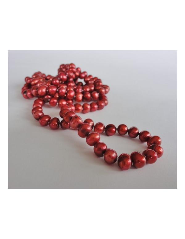 Naszyjnik z pereł - złota czerwień Naszyjnik z pereł - złota czerwień