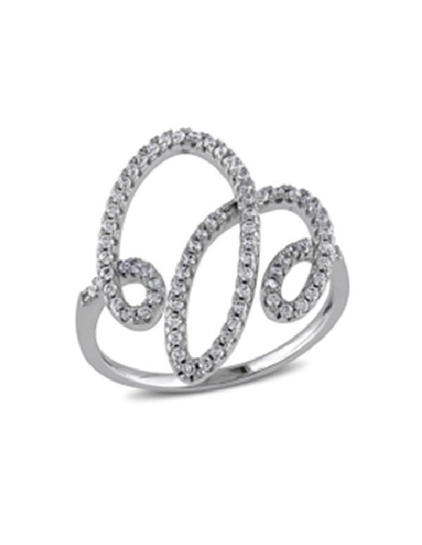 Srebrny pierścionek z cyrkoniami Modny srebrny pierścionek z cyrkoniami