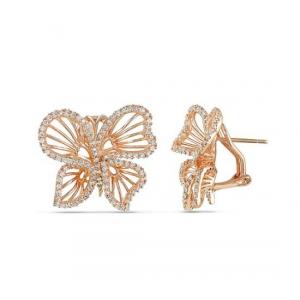 Kolczyki motylki - pozłacane różowym złotem