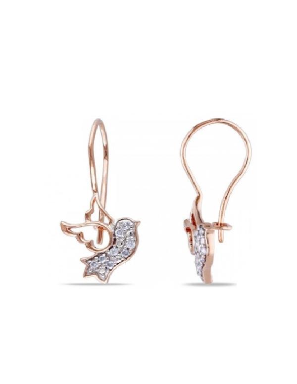 Kolczyki koliber - pozłacane różowym złotem Srebrne kolczyki ptaszek z cyrkoniami - pozłacane różowym złotem