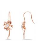 Kolczyki koniczynka - pozłacane różowym złotem Srebrne kolczyki kwiatek - pozłacane różowym złotem
