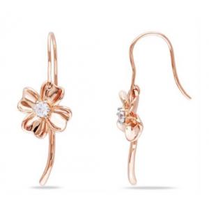 Kolczyki koniczynka - pozłacane różowym złotem