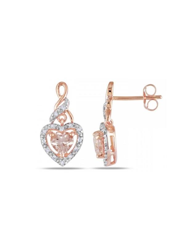 Kolczyki serce z krysztalkiem Srebrne kolczyki serce z cyrkonią pozłacane różowym złotem