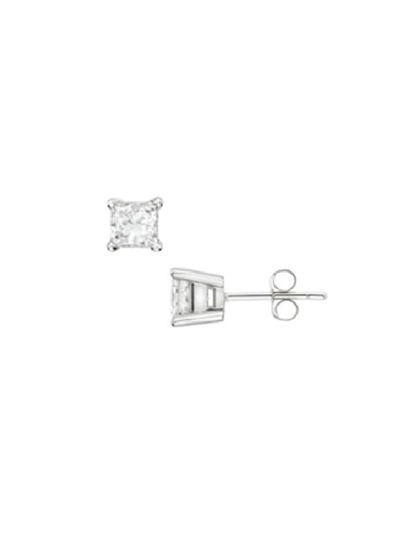Kolczyki kwadratowe Srebrne kolczyki z kwadratową cyrkonią