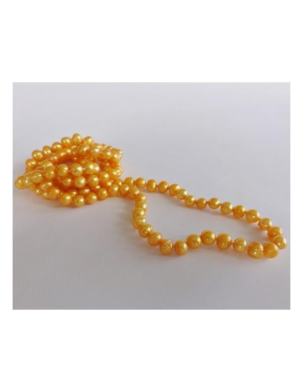 Naszyjnik z pereł - żółty słoneczny Naszyjnik z pereł - żółty słoneczny