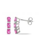 Kolczyki z różową cyrkonią Srebrne kolczyki z różową cyrkonią
