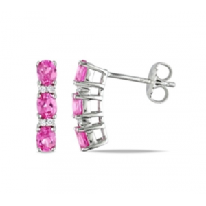 Kolczyki z różową cyrkonią