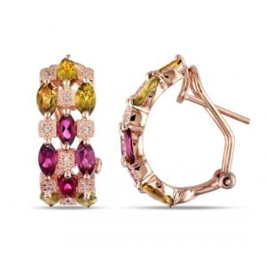kolczyki pozłacane różowym złotem z kolorowymi cyrkoniami