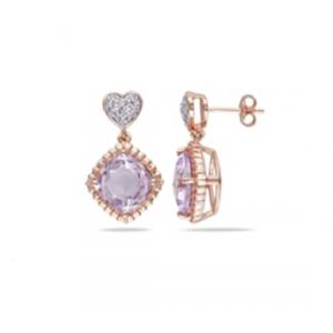 Kolczyki z fioletową cyrkonią pozłącane różowym złotem