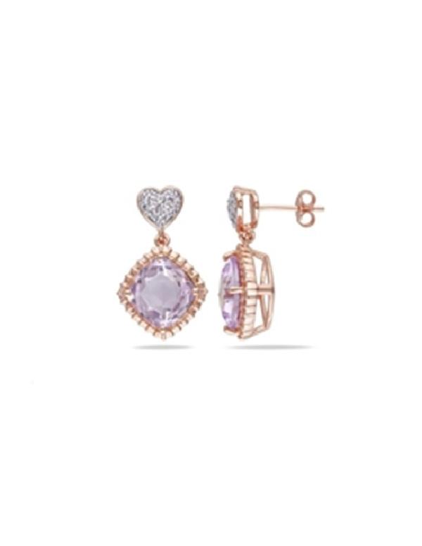 Kolczyki z fioletową cyrkonią pozłącane różowym złotem Kolczyki z fioletową cyrkonią pozłącane różowym złotem